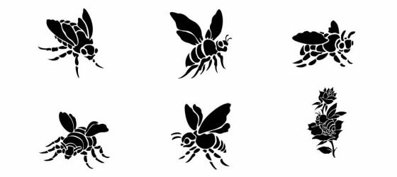 New 6 Bee Tattoo Designs On White Background