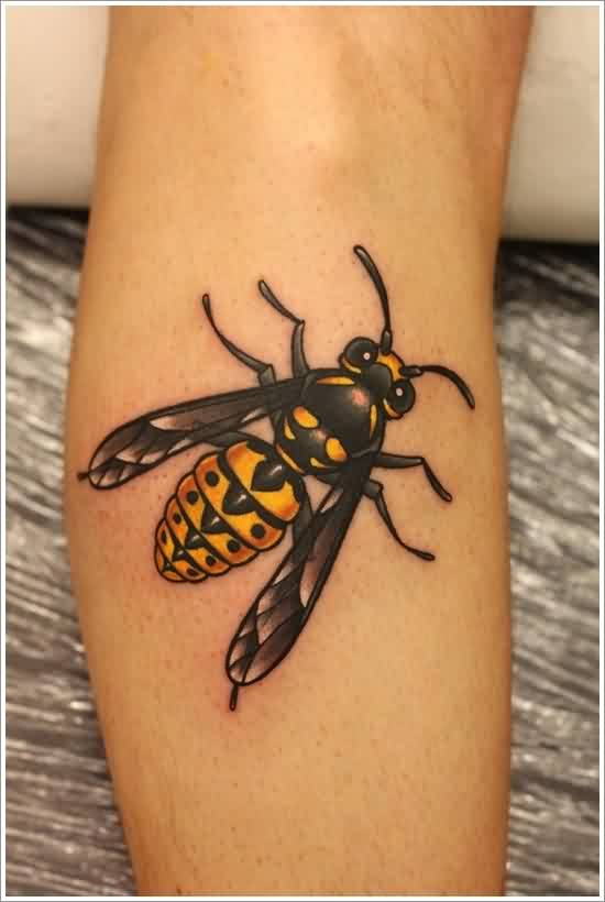 New Attractive Bee Tattoo On Arm