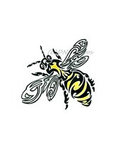 New Black And Yellow Tribal Bee Tattoo Design