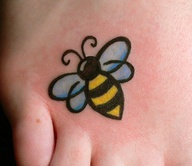 New Blue Winged Bee Tattoo On Foot