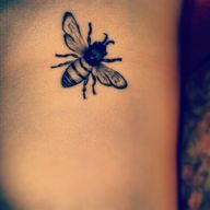 Nice Black And Grey Ink Bee Tattoo