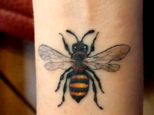 Lovely Bumblebee With White Wings Tattoo
