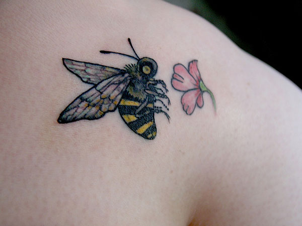 Pretty Bee And Flower Tattoo