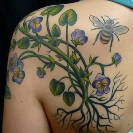 Pretty Flower Vine And Bumblebee Tattoo On Back Shoulder