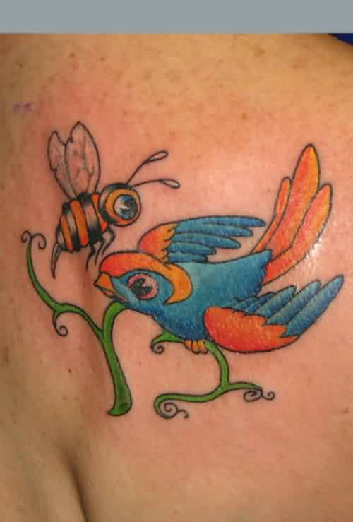 Pretty Small Bee And Swallow Tattoo