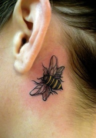 Pretty Small Bee Tattoo Below Ear