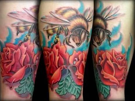 Realistic Bee And Flowers Tattoo