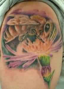 Realistic Bee On Flower Tattoo On Shoulder