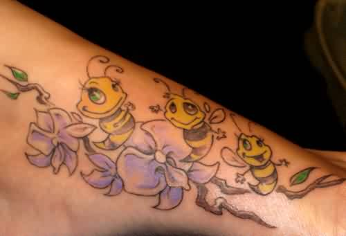 Smiling Yellow Bees And Flower Tattoo On Foot