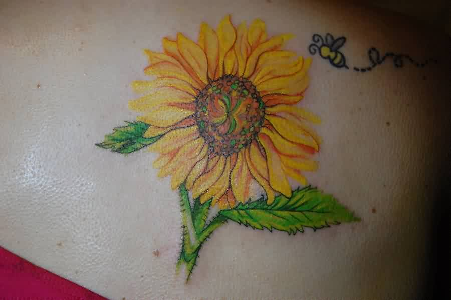 Sunflower And Little Bee Tattoo For Girls And Women