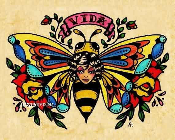 Traditional Lady Bee Tattoo Flash