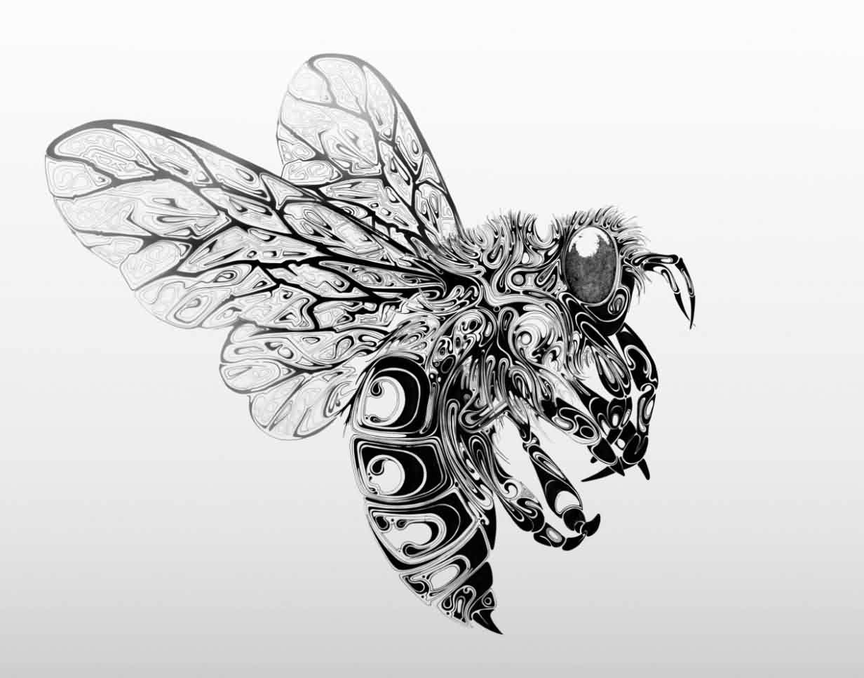 Tribal Style Black Bee Tattoo Design
