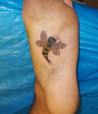 Under Foot Bee Tattoo