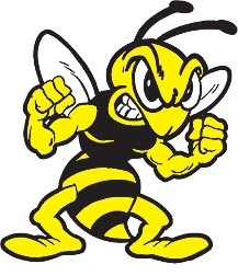 Yellow And Black Angry Bee Tattoo Design