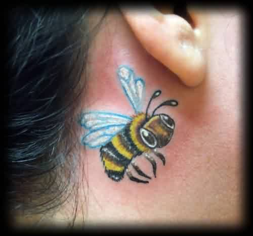 Yellow And Black Bee Tattoo Behind Ear