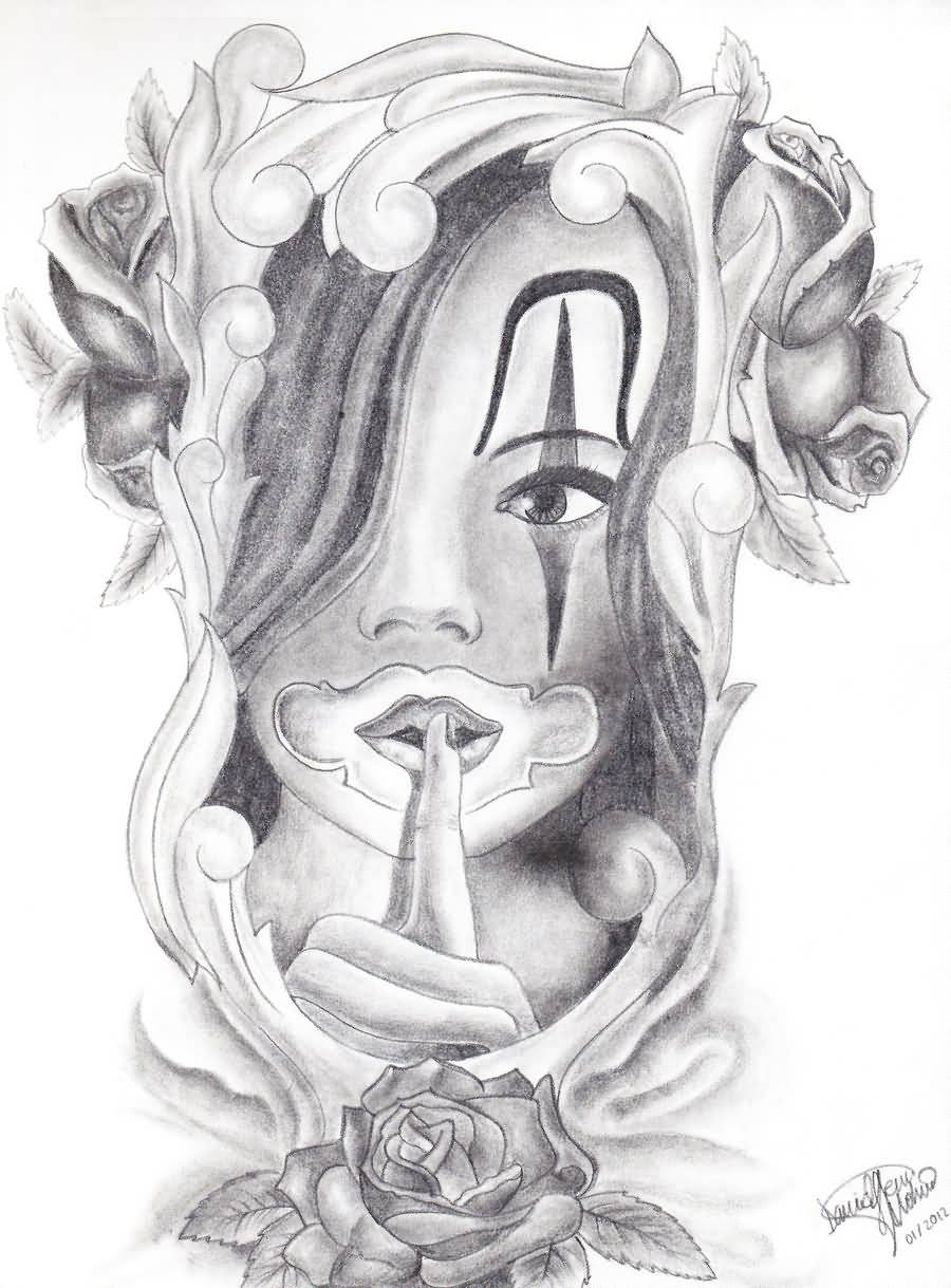 gangster tattoo beautiful chicano gangsta girl drawing. Black Bedroom Furniture Sets. Home Design Ideas