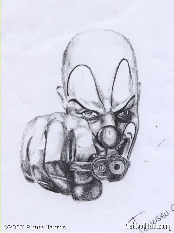 Gangster Drawings Of Clowns With Guns Tattoo Fantastic