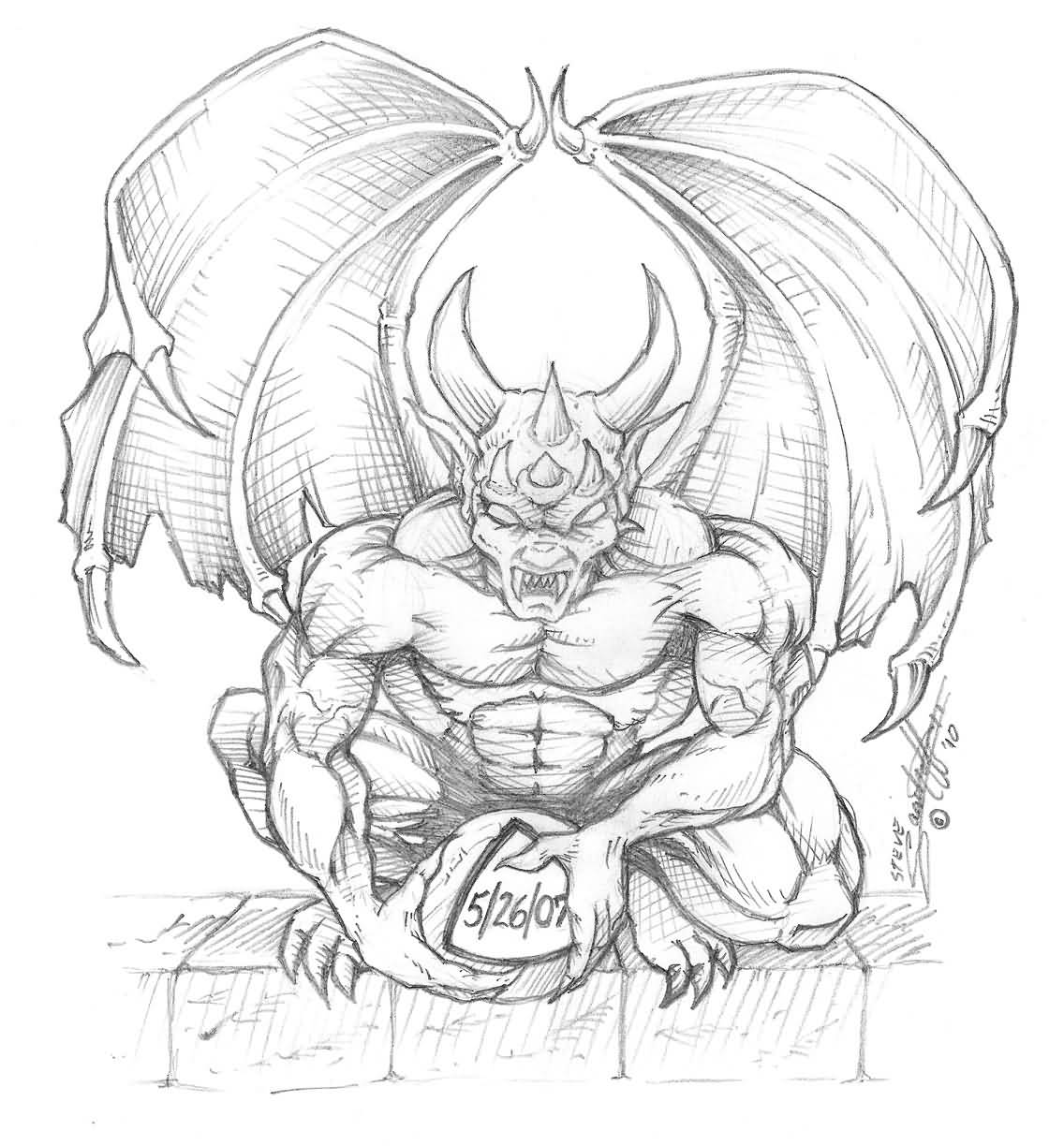 gargoyle tattoo winged gargoyle sketch. Black Bedroom Furniture Sets. Home Design Ideas
