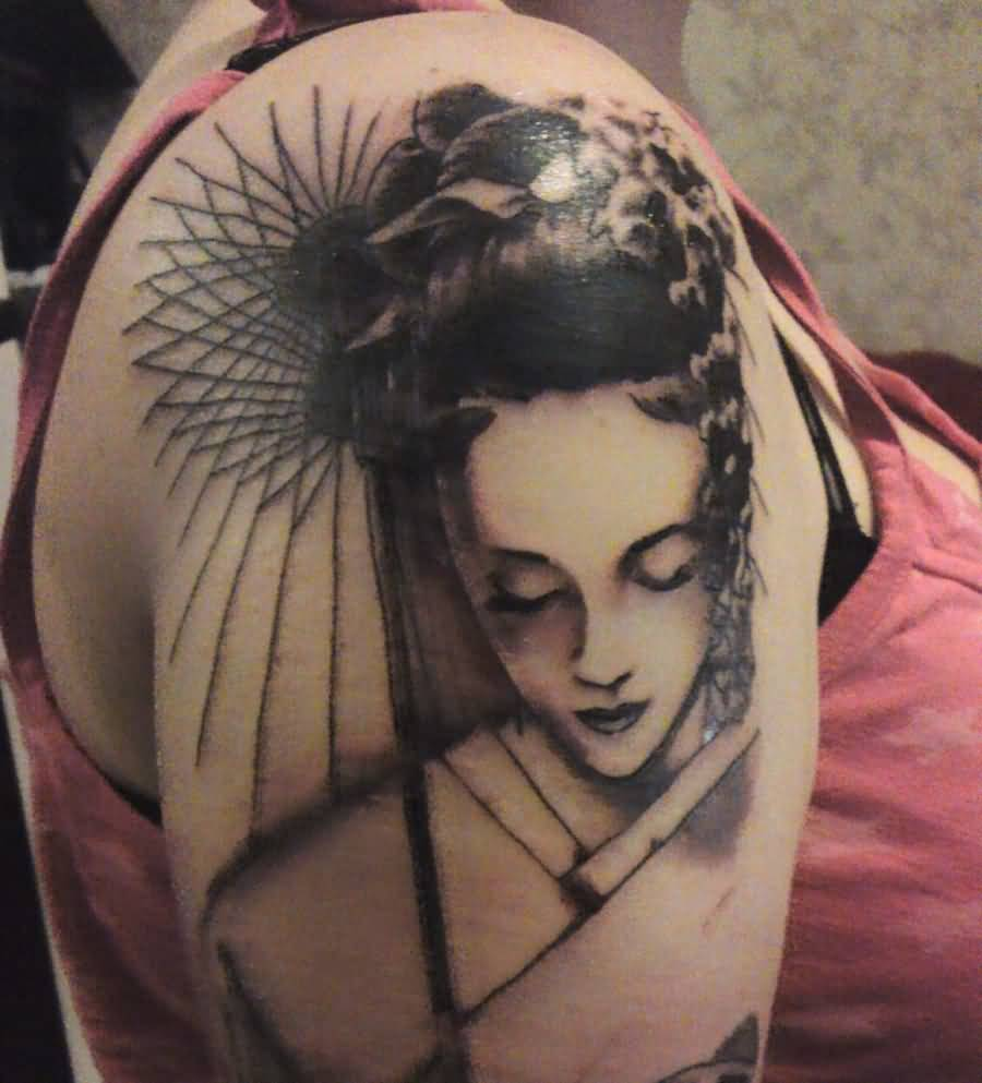 Geisha Tattoo Traditional Japanese Geisha Tattoo On Shoulder