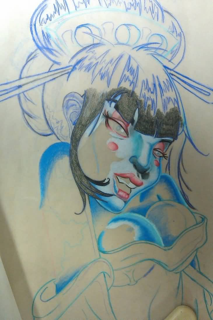 Geisha Tattoo - Zombie Geisha Tattoo Design