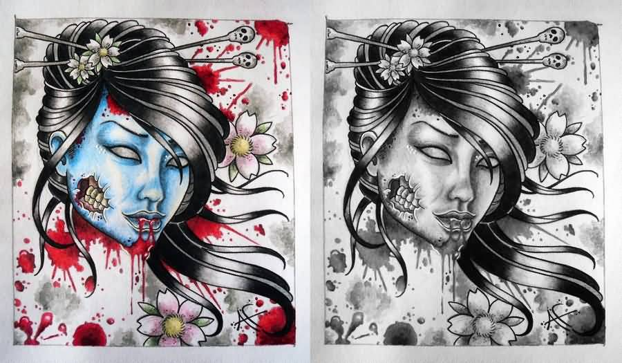 Geisha Tattoo - Zombie Geisha Tattoo Designs