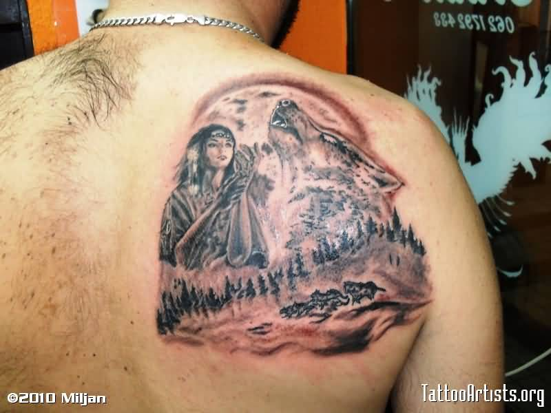 Girl Tattoos - Awesome Indian Girl With Wolf On Back Shoulder