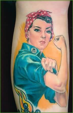dragon and pin up angel girl tattoos on biceps. Black Bedroom Furniture Sets. Home Design Ideas