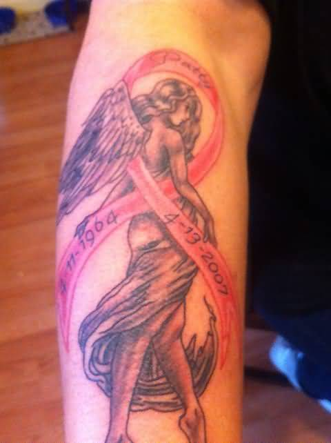 Girl Tattoos Beautiful Girl With Breast Cancer Ribbon Design