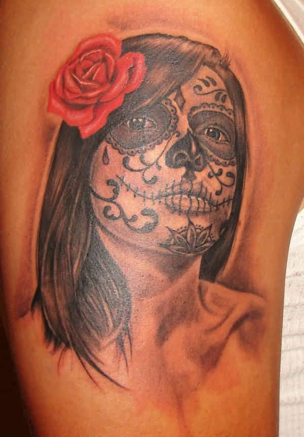 girl tattoos day of the dead design on arm. Black Bedroom Furniture Sets. Home Design Ideas