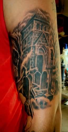 104 tattoos awesome graveyard tattoo designs cemetery tattoos page 5. Black Bedroom Furniture Sets. Home Design Ideas