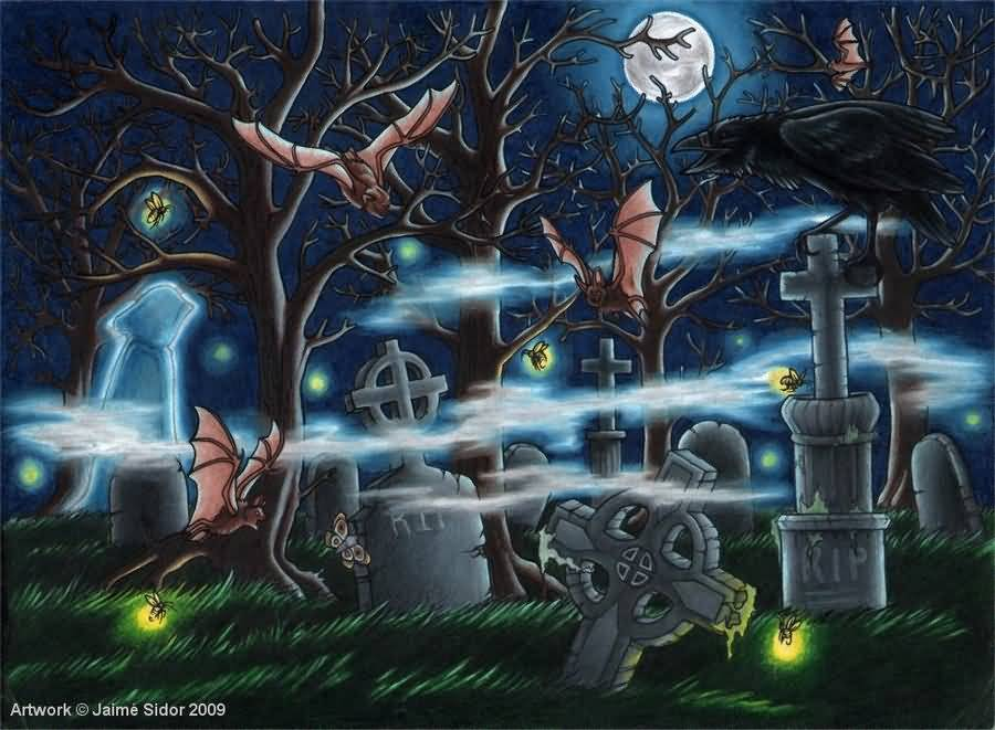 104 tattoos awesome graveyard tattoo designs cemetery tattoos page 4. Black Bedroom Furniture Sets. Home Design Ideas