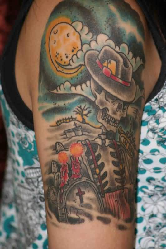 104 tattoos awesome graveyard tattoo designs cemetery for Skull sun tattoo