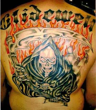 f35e57638 Grim Reaper Tattoo – Red And black Ink Fire Design On Back Body