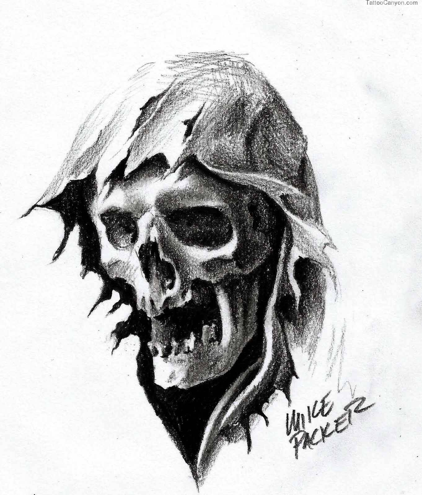 Grim reaper tattoos nice pencil drawing