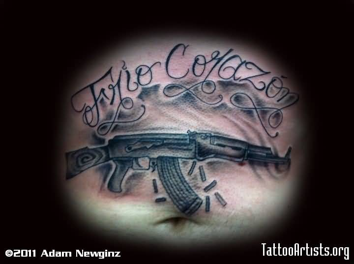 Gun Tattoo AK 47 Design