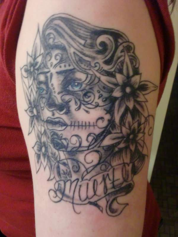 Sugar Skull Angel Woman Grey Ink Tattoo | Tattooshunter.com