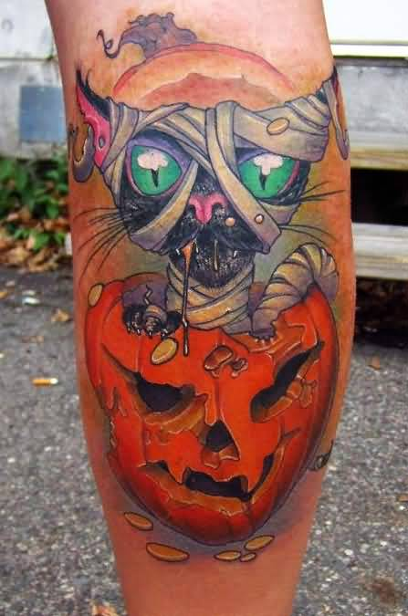 Halloween Tattoo - Amazing Halloween Black Cat Tattoo Design On Leg