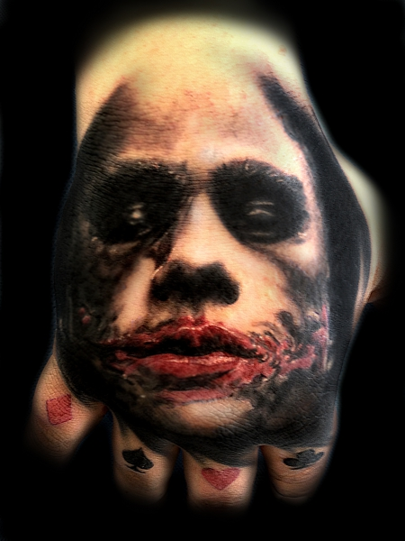 Joker Tattoo On Hand: Wonderful Scary Joker Design