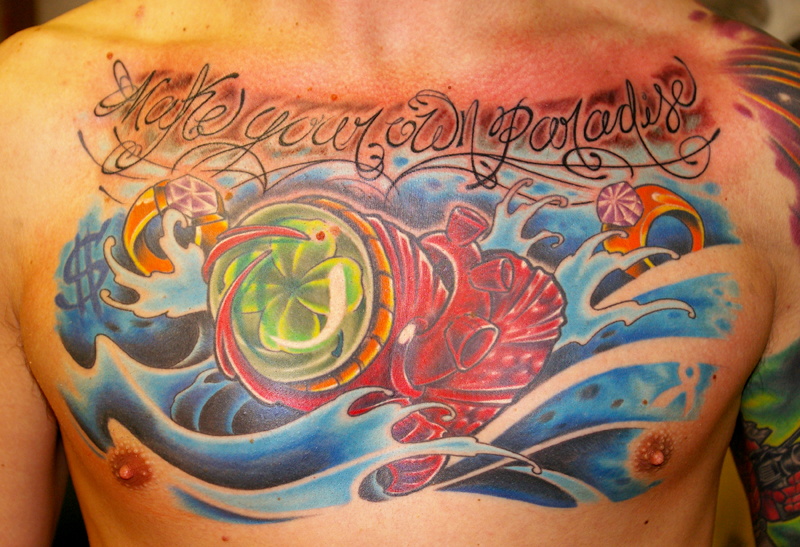 Heart Tattoo -  Awesome Clover Chest Piece Design