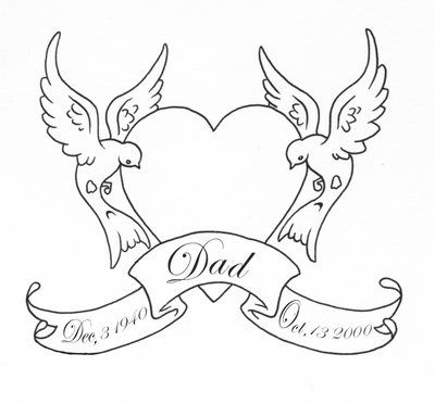 Swallows Heart And Memorable Banner Outline Tattoo Sample