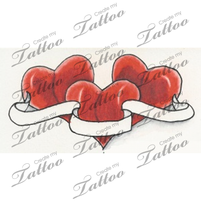 heart tattoo perfect three hearts n banner design. Black Bedroom Furniture Sets. Home Design Ideas