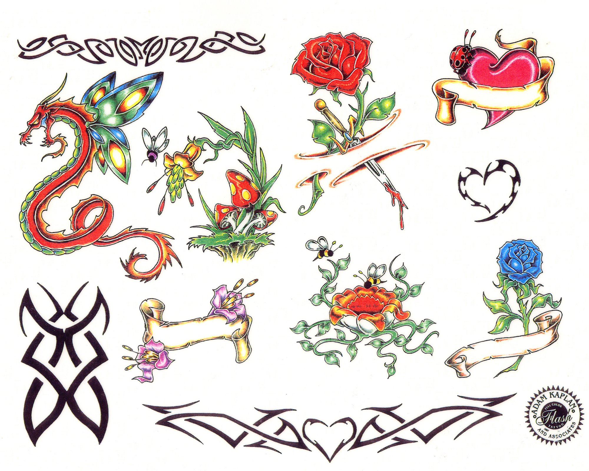 Heart Tattoo - Wonderful Heart Dragon Rose Designs