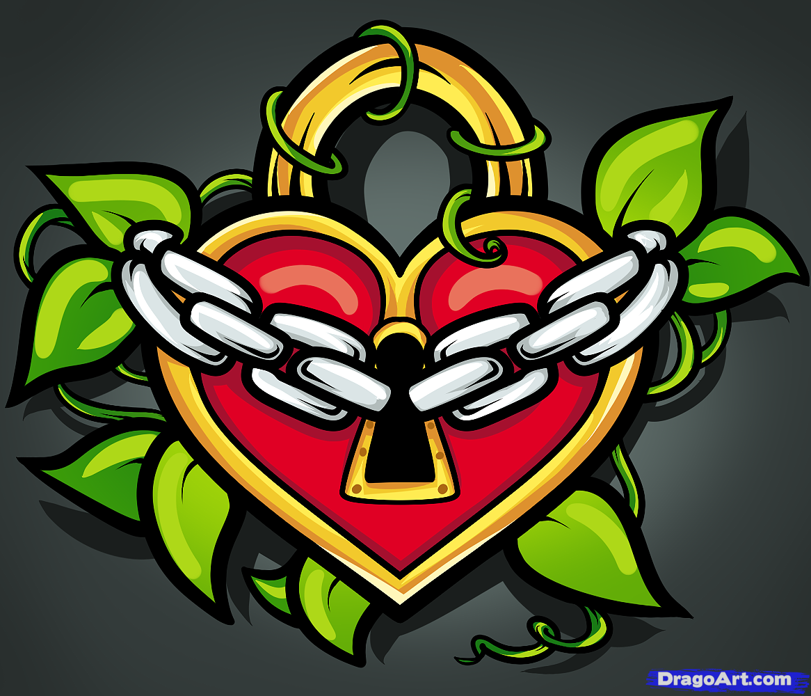 Heart Tattoo - Wonderful Heart Lock Art