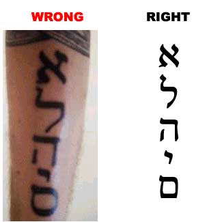 Hebrew Tattoo - Wonderful Words Design