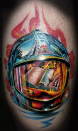 Helmet Tattoo - Flames Design (2)
