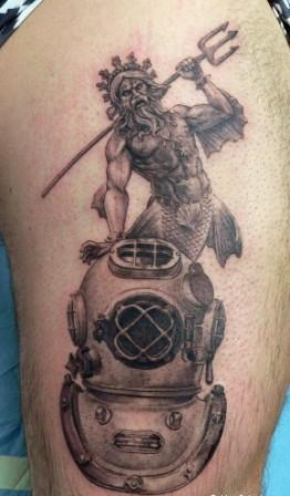 Helmet Tattoo - Grey Ink Scuba And Diving Design