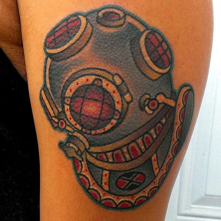 helmet tattoo superb traditional diver design. Black Bedroom Furniture Sets. Home Design Ideas