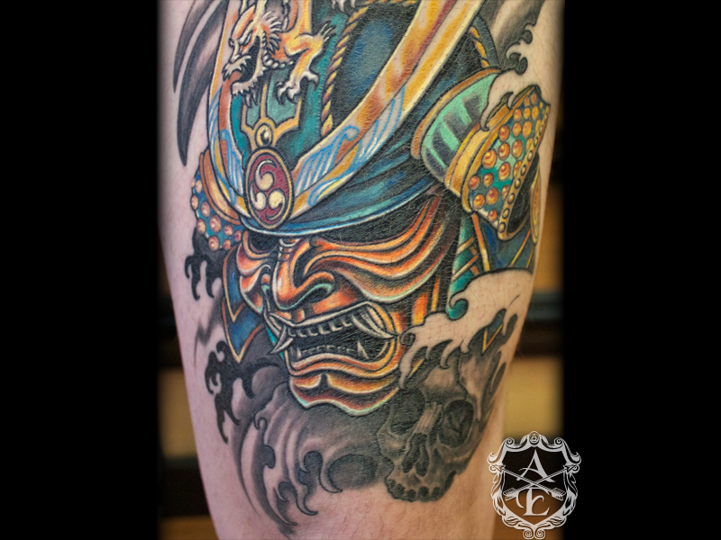 Helmet Tattoos Samurai Mask Tattoo Stencil Design