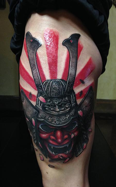 helmet tattoos samurai metal oni hannya mask japanese rising sun. Black Bedroom Furniture Sets. Home Design Ideas