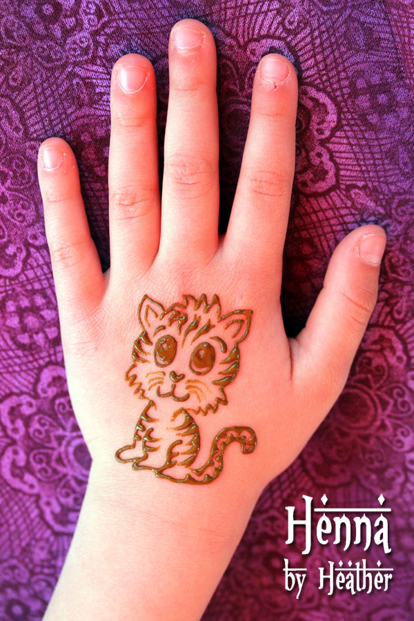Henna Tattoo - Beautiful Baby Tiger On Hand